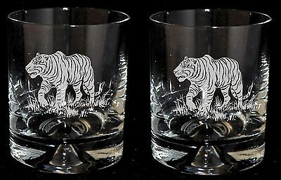 *TIGER GIFT* - Boxed PAIR of GLASS WHISKY TUMBLER with TIGER design
