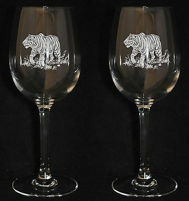 *TIGER GIFT* Boxed PAIR CRYSTAL WINE GLASS  with TIGER design