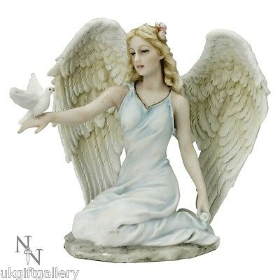 Peaceful Offering - Hand Painted Resin Angel & Dove Figure by Veronese Studio BN