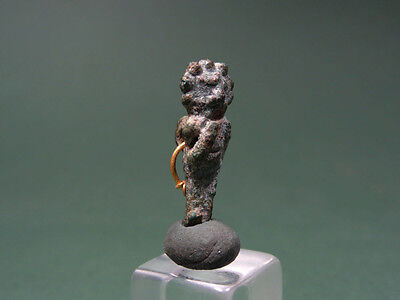 Ancient Bronze & Gold Pendant Figure Shape Egyptian Late Period 716-30 Bc