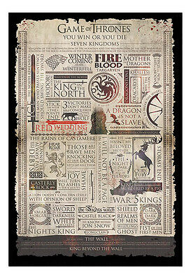 Framed Game Of Thrones Infographic Poster New
