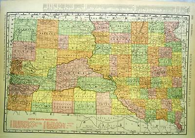 Rand Mcnally Commercial Atlas South Dakota Map Page Plate Railroad Lines 1911