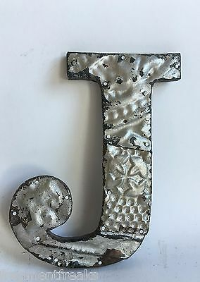 "Antique Tin Ceiling Wrapped 8"" Letter ""J"" Patchwork Metal Mosaic Silver E5"