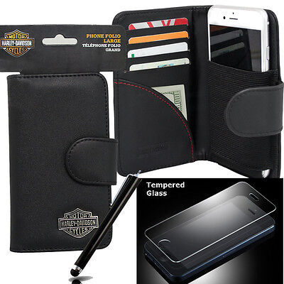 Harley Davidson Wallet Case 7753 for iPhone 6s, iphone 6 with glass screen guard