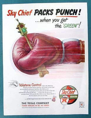 PACKS PUNCH WHEN LIGHT TURNS GREEN Original 1952 Texaco Sky Chief Ad