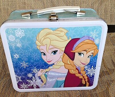 Disney Frozen Metal Lunch Box Elsa and Anna HTF Pattern