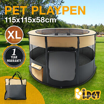 Pet Soft Playpen Dog Cat Puppy Play Large Round Crate Cage Tent Portable Grey