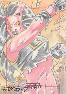 Marvel Dangerous Divas -  Color Sketch Card by Alberto Silva -