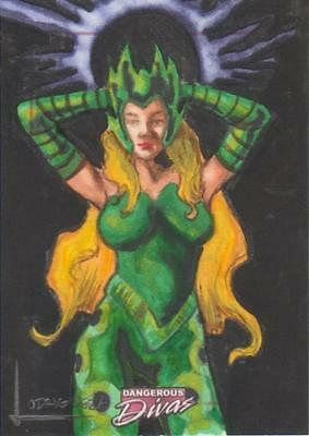 Marvel Dangerous Divas -  Color Sketch Card by Lodrigueza - Enchantress
