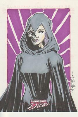 Marvel Dangerous Divas -  Color Sketch Card by Tchissafaou - Death