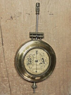 "Mantle kitchen shelf clock pendulum 5 3/8"" old brass R A vintage crinckled face"