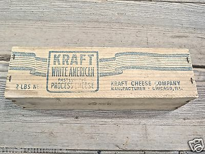 "wood Kraft white American Cheese Box vintage old 9 1/8"" country decoration light"
