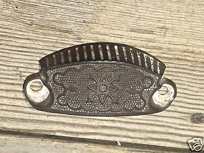"old Bin Drawer Pull cup door handle 3 1/2"" cast iron rustic vintage Victorian"