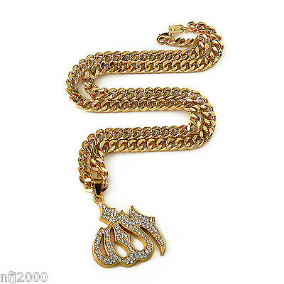 Large Gold Allah Pendant With Rhinestones On Gold Rollo Chain - Hiphop Jewelry