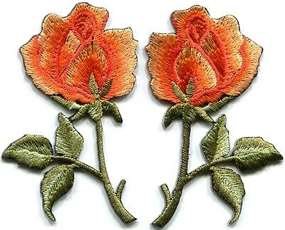 Green roses pair flowers floral retro boho hippie applique iron-on patch S-604