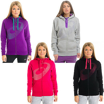asics Womens Full Zip Hoody Hoodie Sweater Sweatshirt Jumper Top
