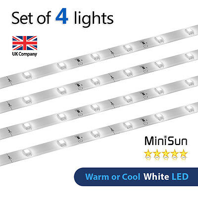 4 x Plug In White LED Under Kitchen Cupboard Cabinet Link Strip Lights Lighting