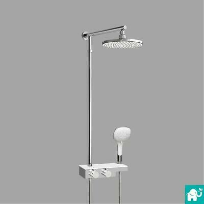 Modern Twin Head Thermostatic Shower Mixer Chrome Bathroom Exposed Valve Set