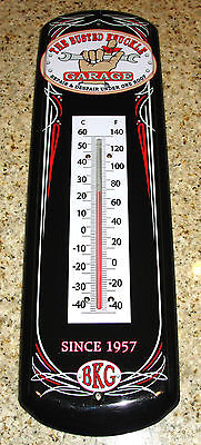"THE BUSTED KNUCKLE GARAGE SINCE 1957 METAL THERMOMETER Dimensions: 5""W X17""H"