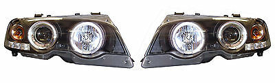 BMW 3 Series E46 2Dr 98-03 Black Angel Eye Projector Headlights Halo LED