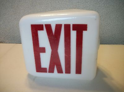 Vintage Glass Retro Exit Sign Globe Light Kopp Industrial Theater Red White