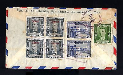 8140-EL SALVADOR-AIRMAIL CLIPPER COVER SAN MIGUEL to REMSCHEID (germany).1950.
