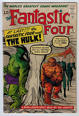 Fantastic Four #12 2.0 Versus Hulk 1St Meeting Off-White Pages Silver Age
