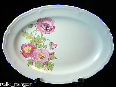 "Vintage Knowles 11.5"" Wide Serving Tray/Platter Pink Rose Pattern"