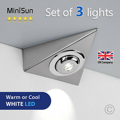 3 x LED Triangle Plug In Under Kitchen Cupboard Cabinet Lights Lighting Lamp Kit