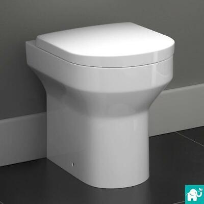 Round White Back To Wall Toilet Pan Cistern WC Modern Bathroom CT621BTW
