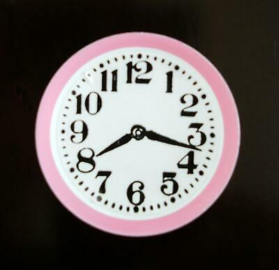 Dolls House Miniature Accessory Pink Kitchen Wall Clock 1:12 Scale