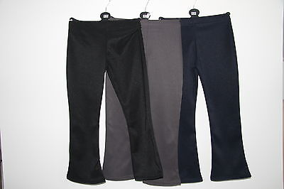 Girls Ribbed School Fashion Fixed Waist Bootleg Trousers Ages 2-14Years - New