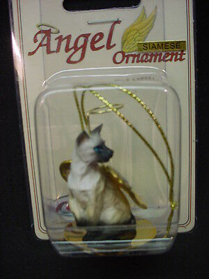 SIAMESE Kitty CAT ANGEL Ornament HAND PAINTED resin Figurine Christmas kitten