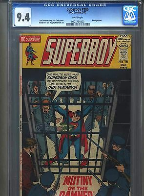 Superboy #186 CGC 9.4 (1972) Nick Cardy Cover White Pages