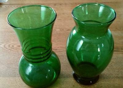 """Vintage 2 Anchor Hocking Forest Green Vases 6"""" Tall"""