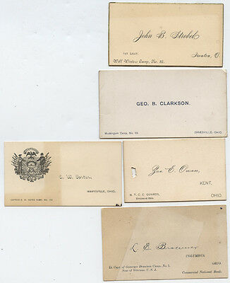 SONS OF VETERANS * LOT OF 5 * calling cards * OHIO