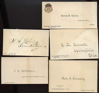 SONS OF VETERANS * LOT OF 5 * calling cards * OHIO * # 3