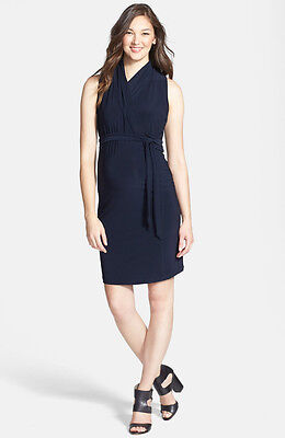 "New Japanese Weekend Maternity & Nursing ""Desk to Dinner"" Navy Wrap Dress S 6 8"