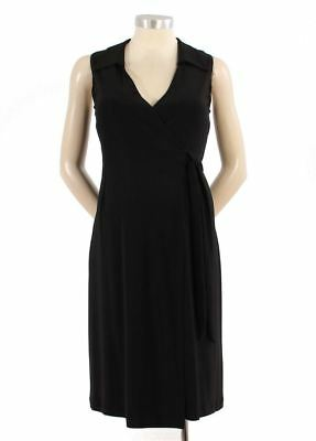 New Japanese Weekend Maternity Nursing Sleeveless Black Wrap Collar Dress S 6 8