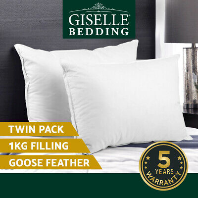 2x GOOSE Down Feather Pillow Twin Pack Contour Neck Duck New Quality Bedding