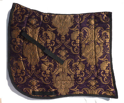 "SWALLOW TAIL  ""PROVENCE""  PURPLE GOLD BAROQUE DRESSAGE SADDLE PAD flashy"