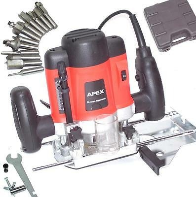 55692 Plunge Router Machine 1300W with Case 12pc Cutter Bits Set Power Tool Work