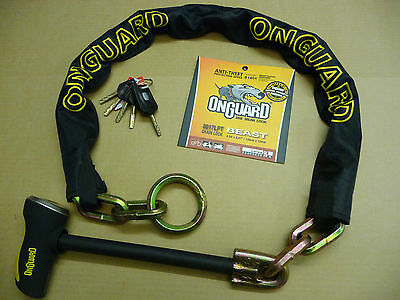 ONGUARD >> 8017LPT << BEAST Motorbike MTB Quad Moped Heavy Duty Thick Chain Lock