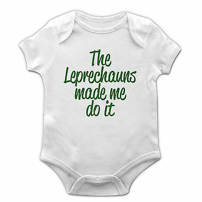 The Leprechauns Made Me Do It Baby Grow Kids St Patrick's Day Toddler Irish EP27
