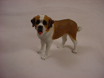 SMOOTH COAT SAINT BERNARD Dog HAND PAINTED FIGURINE Resin Statue St Puppy NEW
