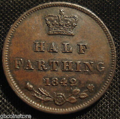 Excellent High Grade 1842 Victoria Half Farthing Sharp Detail Spink 3951