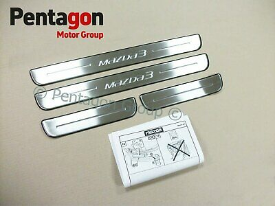 New Genuine Mazda 3 2013- Stainless Steel Door Sill Guards Protectors BHR1V1370