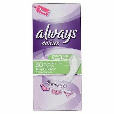 Always Dailies Incredibly Thin Flexistyle Pantyliners 30ct
