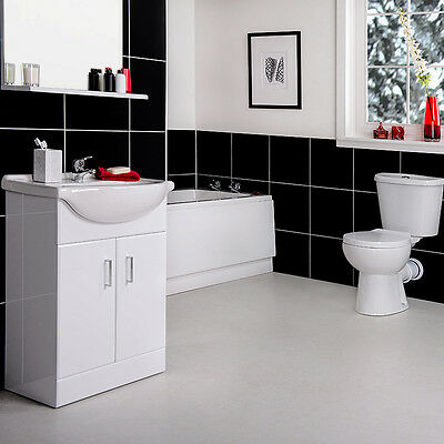 NEW Designer Bathroom Suite with 1700mm Bath and 550mm Vanity Unit