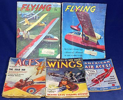 (5) Pulp Aviation Magazine Lot - Aces - Wings - Flying - American Air - Vintage
